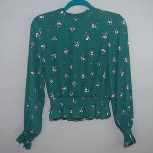 H&M green floral blouse size 4